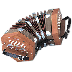 Hohner D40 Concertina Accordion in key of G/C in Mahogany