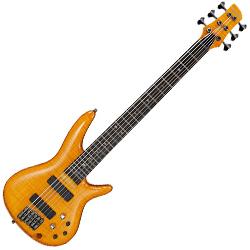 Ibanez GVB36-AM Gerald Veasley Signature 6 String Solid Body Bass in Amber
