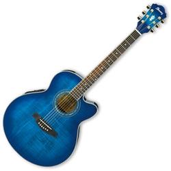 ibanez ael20etos transparent ocean blue sunburst 6 string right hand acoustic electric guitar. Black Bedroom Furniture Sets. Home Design Ideas