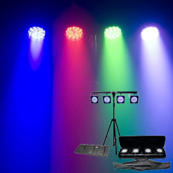 Chauvet 4BAR LED Stage Light System with stand and tote Bags