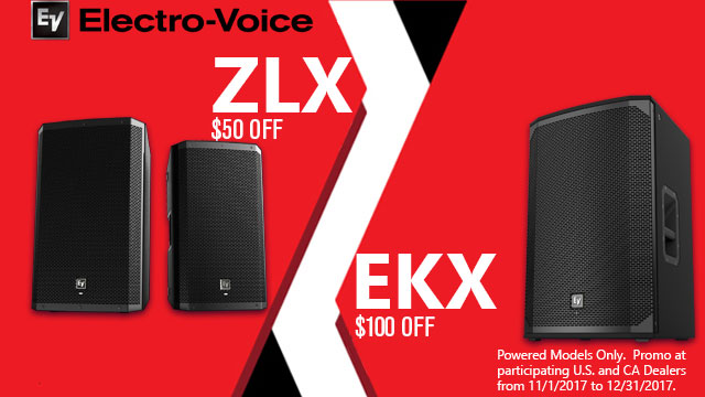 Instant Rebates on ZLX and EKX Powered Speakers from EV!