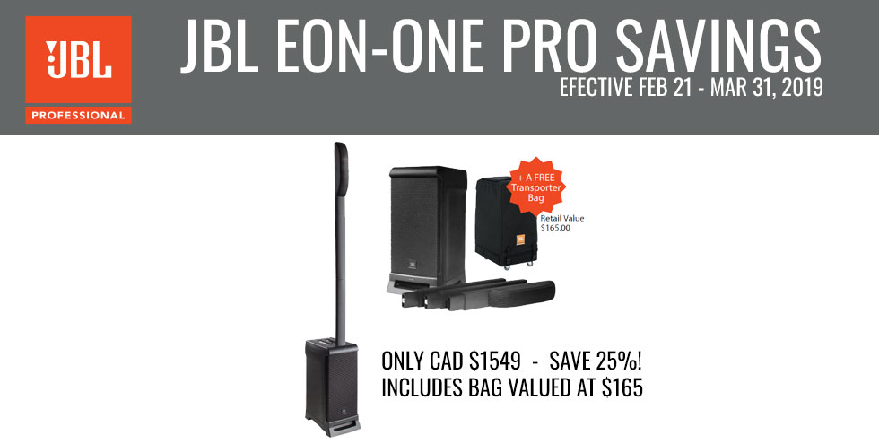 SAVE 25% on the JBL EON-ONE Pro and get a free bag!