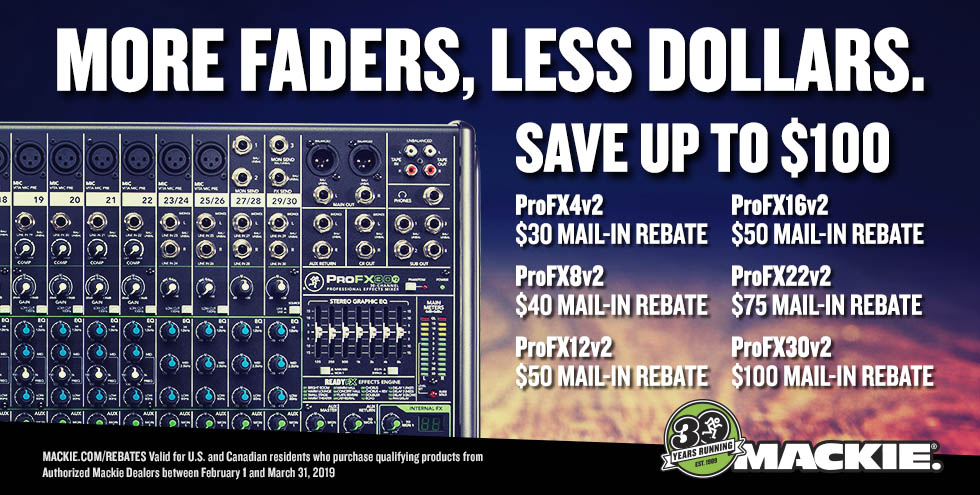 Mail-in rebates for Mackie ProFX v2 Mixers!