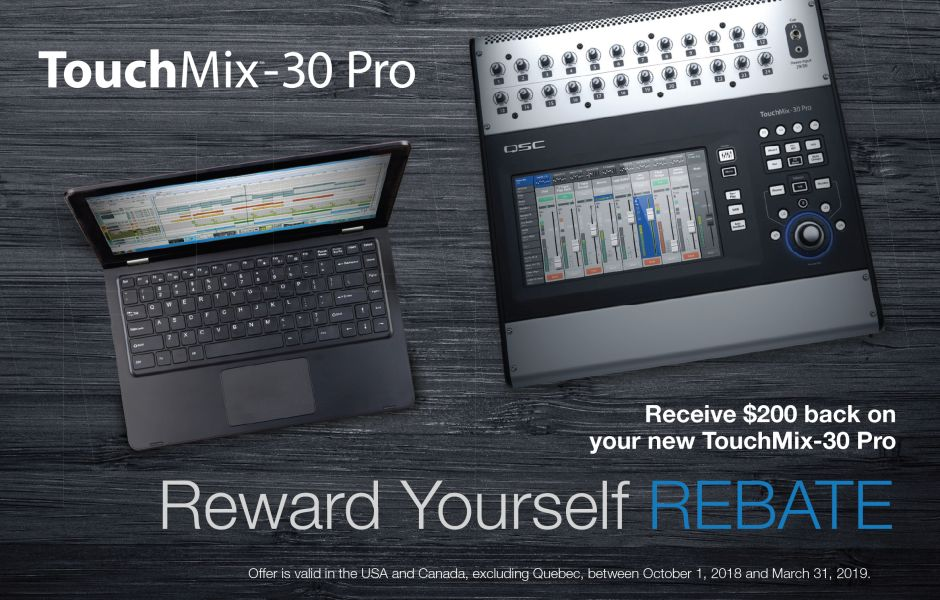 Get $200 back on your new TouchMix 30 Pro Digital Mixer by QSC!