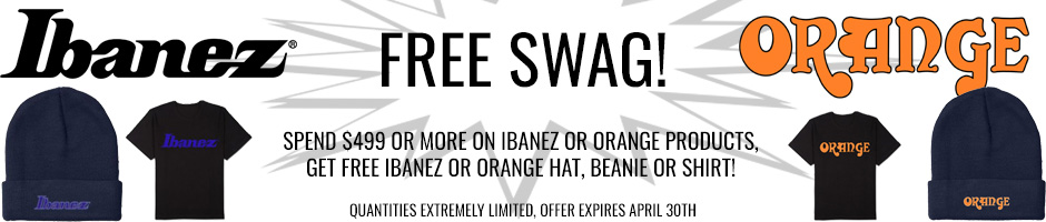 Get FREE Ibanez or Orange swag with purchase of $499 or over on all Ibanez or Orange products!