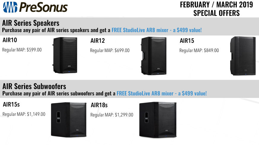 Purchase any pair of AIR speakers or subwoofers, get an AR8 mixer FREE!