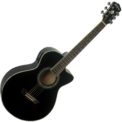 Washburn EA10B-A Festival Series 6 String Acoustic Electric Guitar in Black