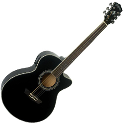 Washburn EA12B-A Festival Series 6 String Acoustic Electric Guitar in Black