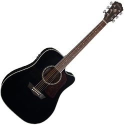 Washburn HD10SCEB Heritage 10 Series 6 String Acoustic Electric Guitar in Black