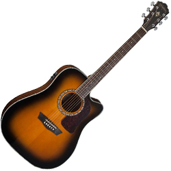 Washburn HD10SCETB Heritage 10 Series 6 String Acoustic Electric Guitar in Tobacco Burst