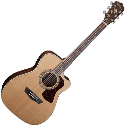 Washburn HF11SCE-O Heritage 10 Series 6 String Folk-Style Acoustic Electric Guitar in Natural