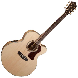 Washburn HJ40SCE Heritage 40 Series 6 String Jumbo Acoustic Electric Guitar in Natural