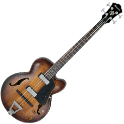 Ibanez AFBV200A-TCL-d Artcore 4 String Semi-Hollow Body Bass in Tobacco Burst Low Gloss Finish (discontinued clearance)  (Prior Year Model)