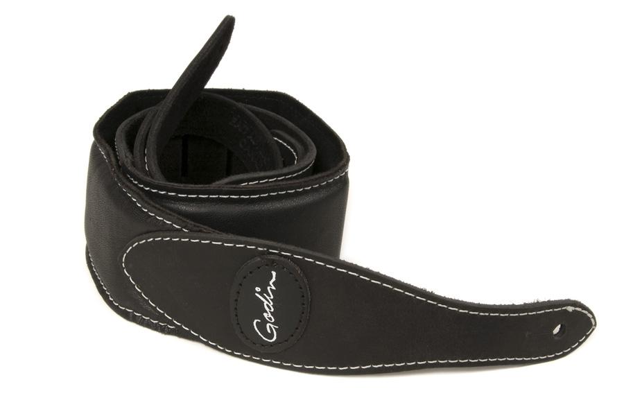 Godin 037001 Black Padded Leather & Suede Strap w/Patch Logo