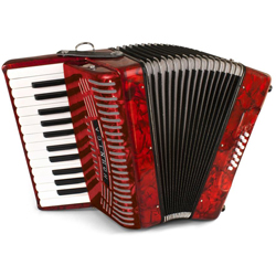 Hohner 1303-RED Hohnica 12 Bass 26-Key Entry Level Piano Accordion Key Range G to G