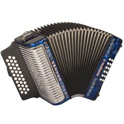 Hohner 3500ABL Corona II Diatonic Accordion in key of ADG in Blue
