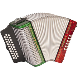 Hohner 3500ARWG Corona II Diatonic Accordion in key of ADG in Green/White/Red Mexico Flag