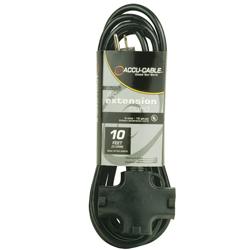 American Audio EC123-3FER10 10' Accu-Cable 3-Wire 12-Gauge Edison AC Extension Cord