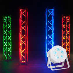American DJ 5P-HEX-PEARL Low Profile 5x10W RGBAW and UV LED Par Fixture in White Casing