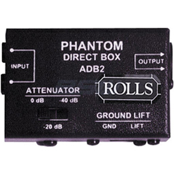 Rolls ADB2 Phantom Direct Box with two Quarter Inch Input Jacks and a Male XLR Output