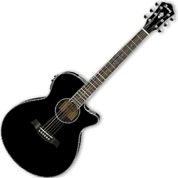 Ibanez AEG10II-BK AEG Series 6 String Acoustic Electric Guitar in Black High Gloss (discontinued clearance)
