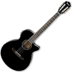 Ibanez AEG10NII-BK AEG Series 6 String Acoustic Electric Guitar in Black High Gloss with Nylon Strings (discontinued clearance)