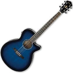 Ibanez AEG8E-TBS AEG Series 6 String Acoustic Electric Guitar in Transparent Blue Sunburst High Gloss