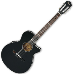 Ibanez AEG8TNE-BKF AEG Series 6 String Classical Acoustic Electric Guitar in Black Flat