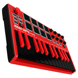 AKAI MPK Mini Mk2 Red Compact Keyboard and Pad Controller in Red