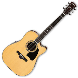 Ibanez AW70ECE-NT Artwood Series 6 String Acoustic Electric Guitar in Natural High Gloss