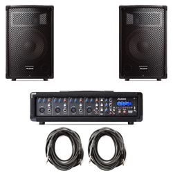 Alesis PA SYSTEM IN A BOX 280W (80W Continuous) 4 Channel PA System with Mixer, Speakers, and Cables