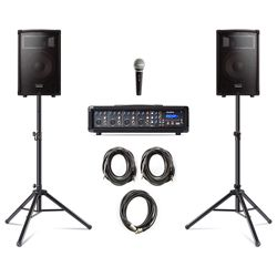 Alesis PA System In A Box With Stands And Mic 280W 4 Channel PA System Includes Mic and Stands