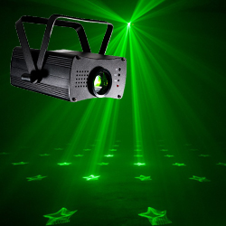 American DJ ANI-MOTION Compact Laser with 36 Dynamic Patterns and 22 Static Effects in Red and Green