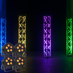 American DJ HEX-PAR-PAK Lighting Package with 4 5P Hex LED Par Lights and Dotz Par RF Remote