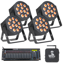 American DJ HEX-PAR-PRO-PAK Lighting Package w/4x12P Hex Par Lights, WiFLY WLC16, & WiFLY Battery Transceiver