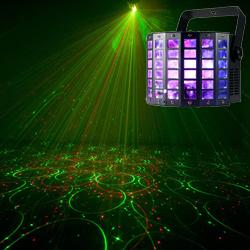 American DJ MINI-DEKKER-LZR 2 FX IN 1 Lighting Fixture with Moonflower and Red Green Laser