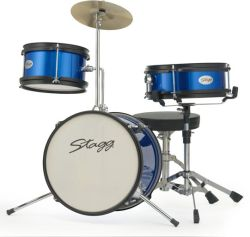 "Stagg TIMJR3-12BL 3 Piece Jr Drum Set 12"" Bass Drum in Blue"