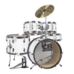 CB Drums JRX55PK-WHT 5 Piece Junior Drum Set in White with cymbals (discontinued clearance)