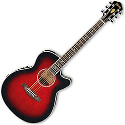 Ibanez AEG8E-TRS-d Acoustic Electric AEG Series Trans Red Burst (discontinued clearance)
