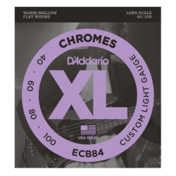 D'Addario ECB84 Chromes Flat Wound Custom Light Bass Guitar Strings 40-100
