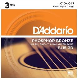 D'Addario EJ15-3D Phosphor Bronze Extra Light Acoustic Guitar Strings-3 Pack