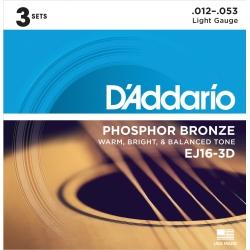 D'Addario EJ16-3D Phosphor Bronze Light Acoustic Guitar Strings-3 Pack