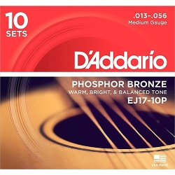 D'Addario EJ17-10P Phosphor Bronze Medium Acoustic Guitar Strings 13-56-10 Pack