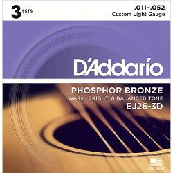 D'Addario EJ26-3D Phosphor Bronze Custom Light Acoustic Guitar Strings-3 Pack