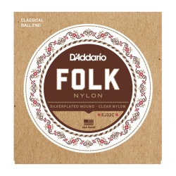 D'Addario EJ32C Folk Nylon Silver Wound/Clear Nylon Treble Guitar Strings 28-45