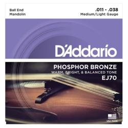 D'Addario EJ70 Phosphor Bronze Medium/Light Ball End Mandolin Strings
