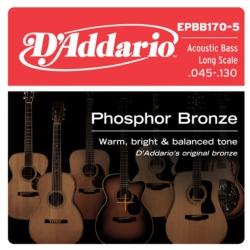 D'Addario EPBB170-5 Phosphor Bronze 5-String Acoustic Bass Strings 45-130
