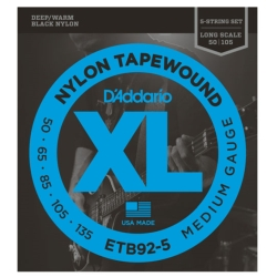 D'Addario ETB92-5 Medium Tapewound 5-String Electric Bass Strings 50-135