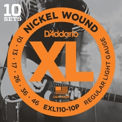 D'Addario EXL110-10P Regular Light XL Nickel Wound Electric Guitar Strings-10 Pack