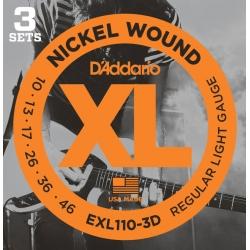 D'Addario EXL110-3D Regular Light XL Nickel Wound Electric Guitar Strings-3 Pack